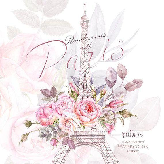 Paris Aquarelle Clipart France Tour Eiffel France Fleurs Roses