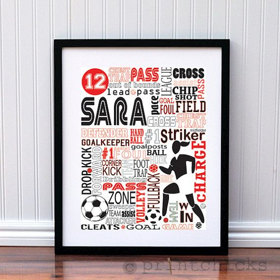 girls personalized soccer typography poster art coachs gift