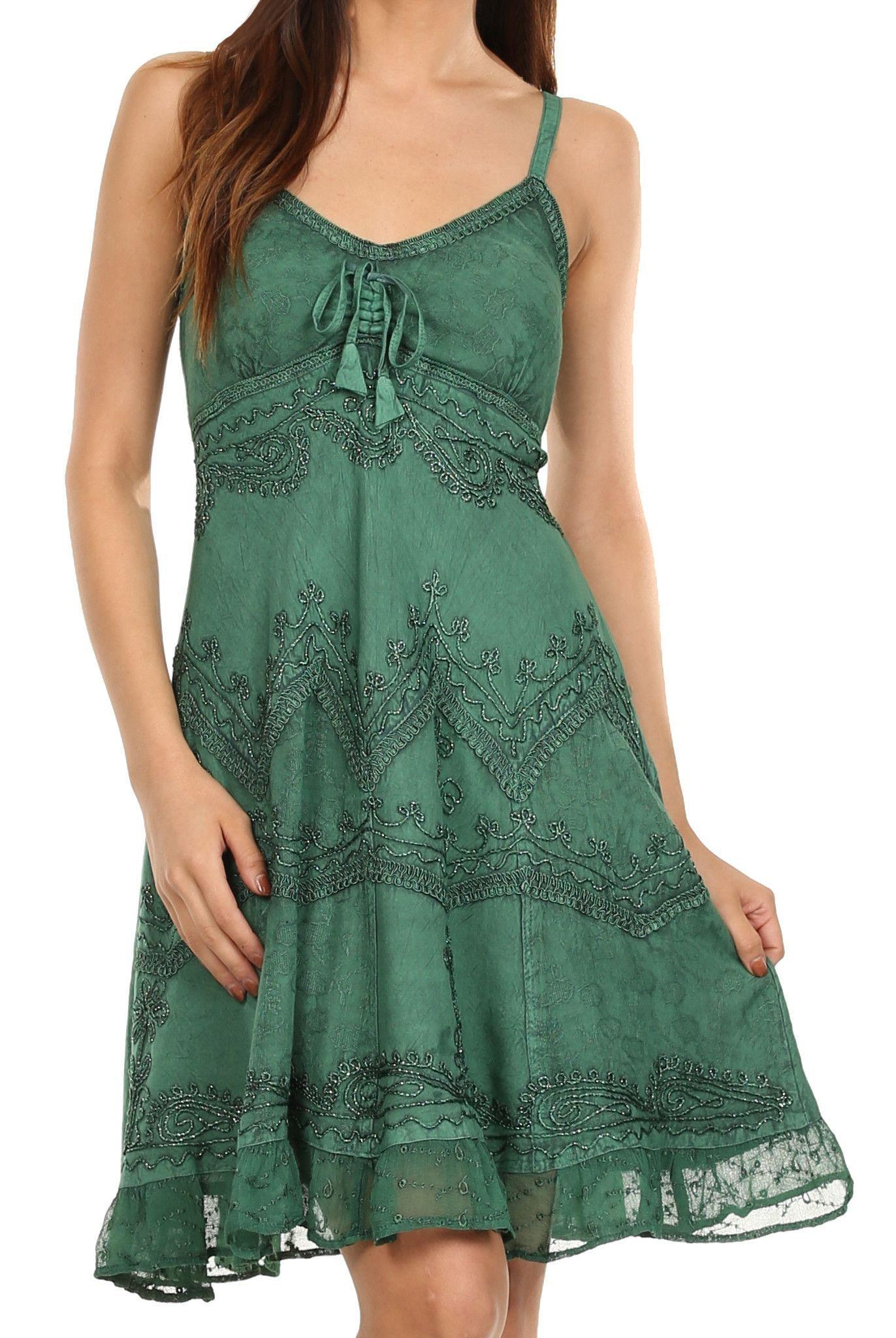 220239532a62 Sakkas Stonewashed Rayon Adjustable Spaghetti Straps Mid Length Dress