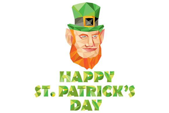 Low polygon style illustration of a leprechaun head set on isolated white background with the words Happy St. Patrick's Day below image. The zipped file includes editable vector EPS, hi-res