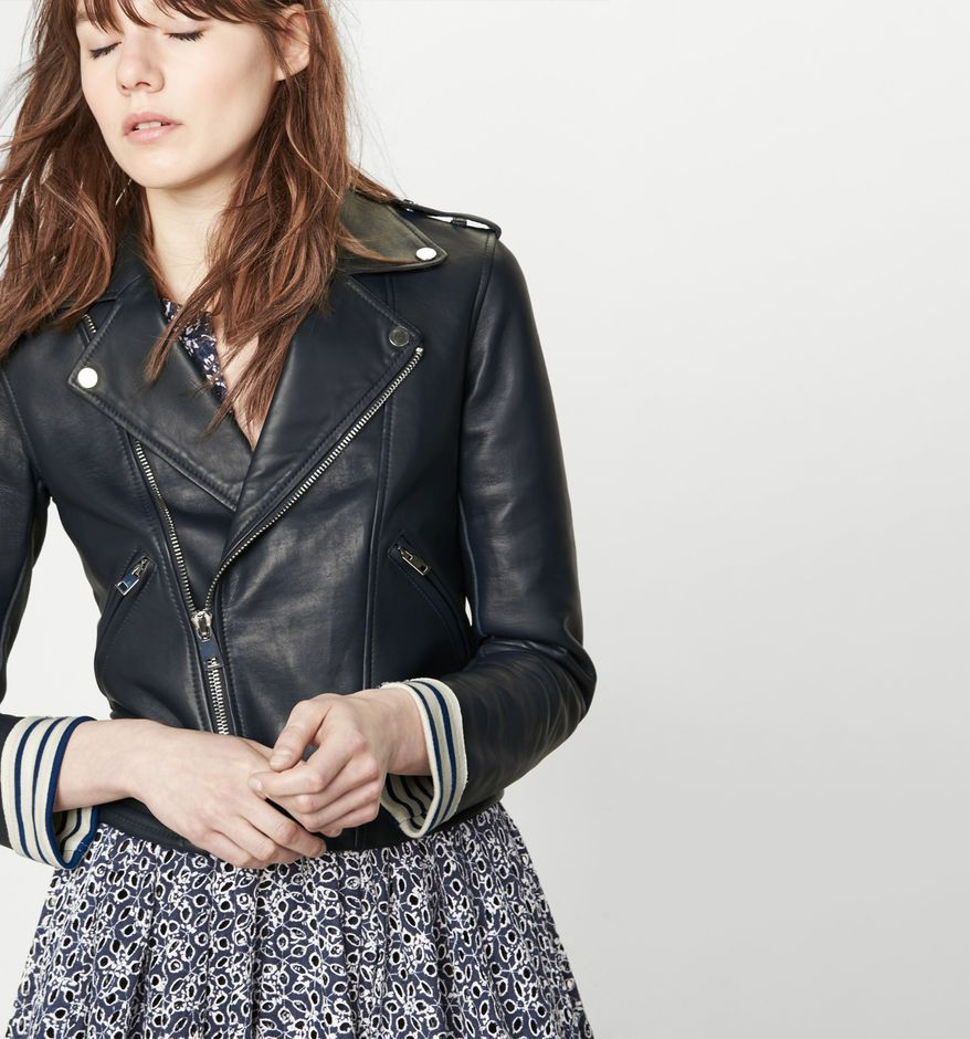 Blouson Marniere Maje Contrecolle Cuir femme mode En shopping AqwwpT