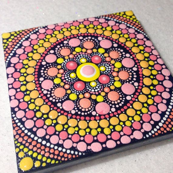 Original Small Flower Mandala Painting on by CreateAndCherish