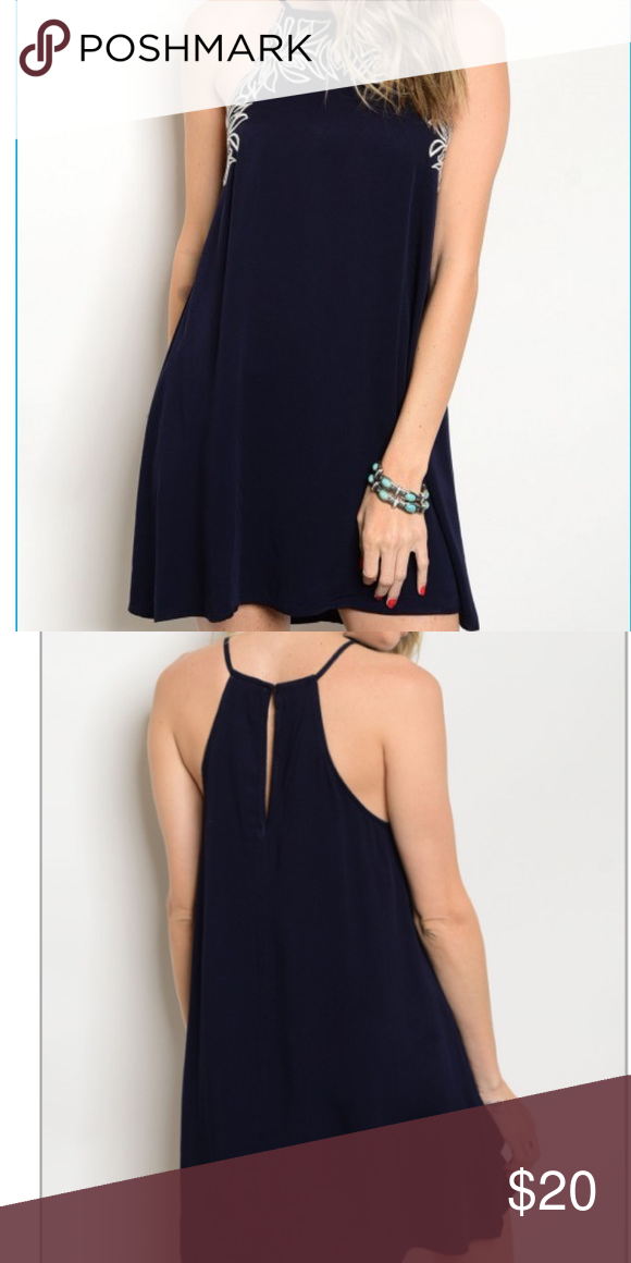 """🔥 Boutique Dress These are already going fast! Perfect for summer! Light and flowy! Beautiful dark navy color. Very similar to the Kendall and Kylie brand styles. Sizes: (1) small, (2) medium, (2) large  Fabric Content: 100% RAYON Description: L: 32"""" B: 34"""" W: 44"""" Dresses"""