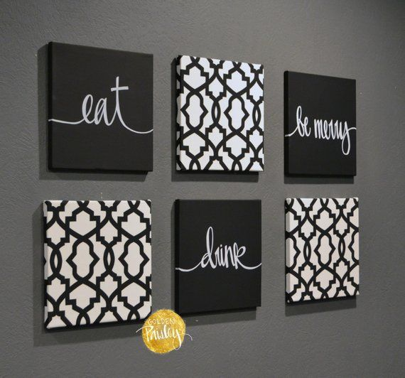 Black White Eat Drink Be Merry Wall Art 6 Pack Canvas Wall