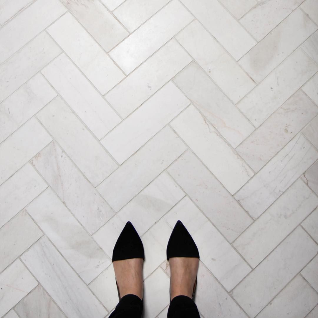 Marble Herringbone Floors In The Master Bath At Poparkhouse