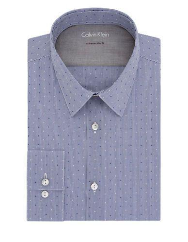 Calvin Klein Extra Slim Fit Dobby Dress Shirt Men's Cadet Blue 16.5-36