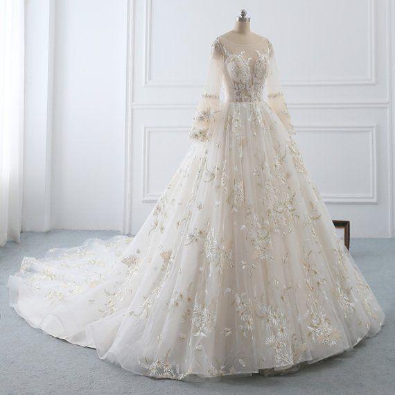 Wedding Dress Long Sleeve A Line Wedding Dress Lacebridal Etsy Wedding Dresses Wedding Dress Long Sleeve Bridal Dresses Lace