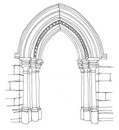 Gothic Architecture Pointed Arch Sketch Coloring Page Gothic