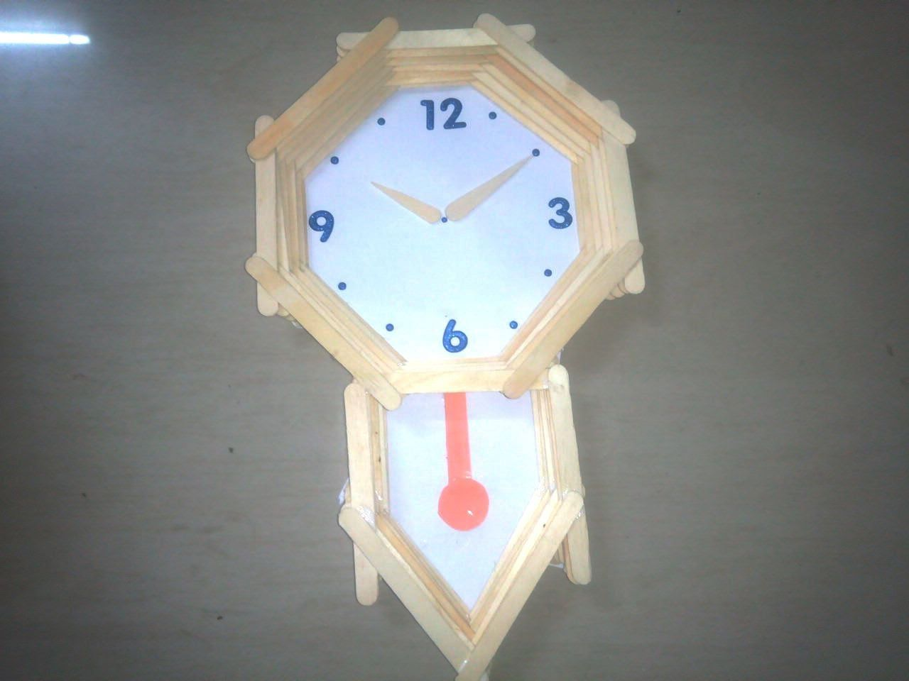 How to make pendulum wall clock with ice cream sticks craft school p
