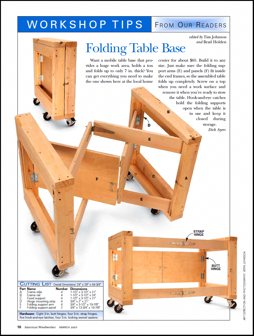 Folding Table Base for the Workshop | American Woodworker