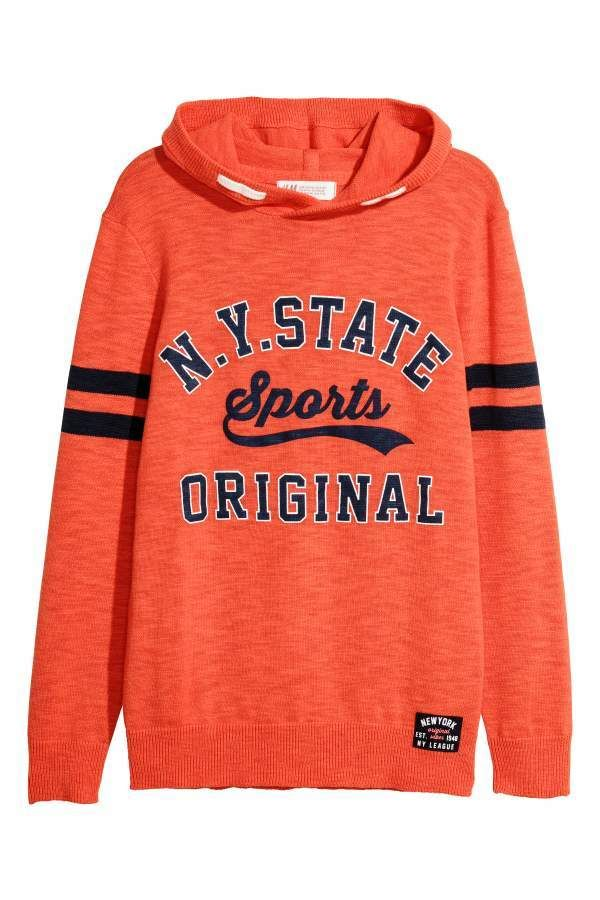 H M Knit Hooded Sweater - Orange NY State - Kids  99f5933cc8