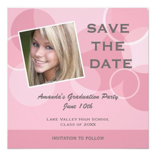 pink photo graduation party save the date card pink graduation