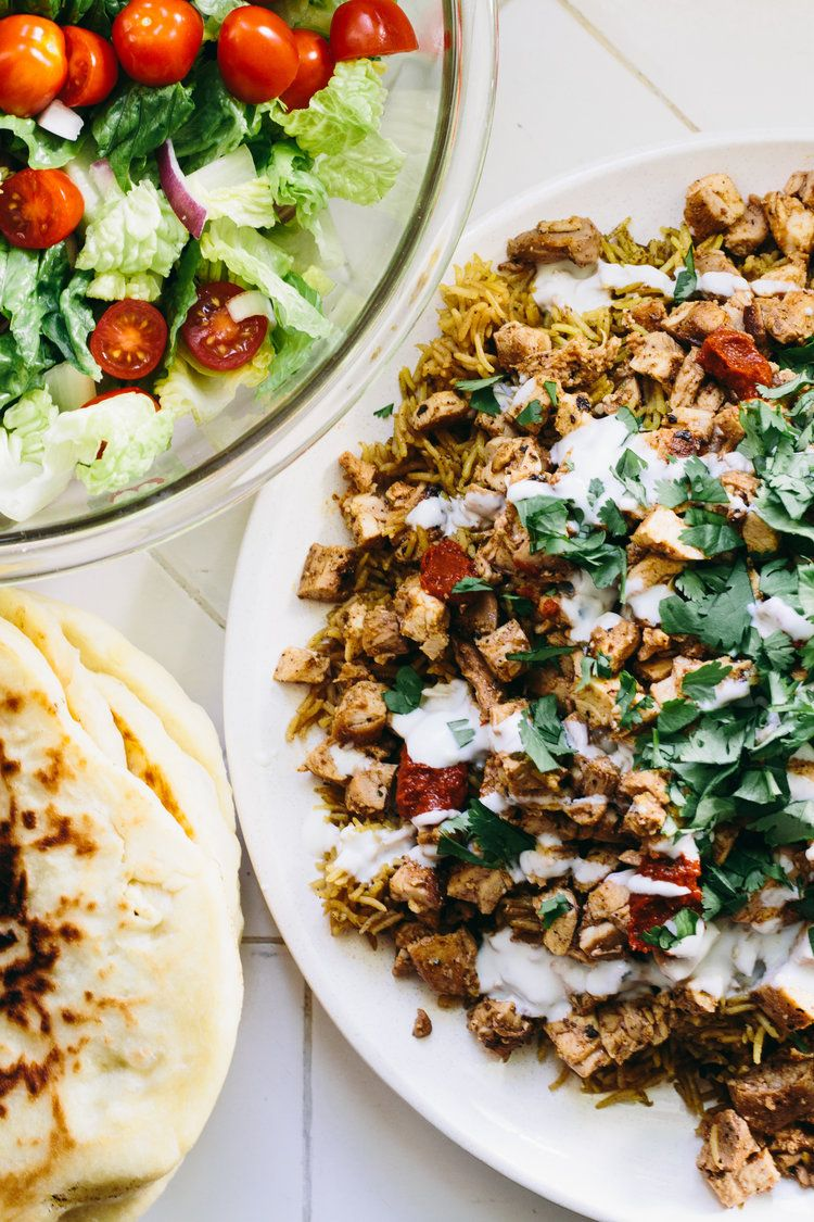 Street Cart Chicken And Rice Flatbread Serve It Up Chicken And