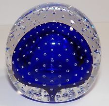 MURANO PAPERWEIGHT CONTROLLED BUBBLES COBALT BLUE GORGEOUS RARE