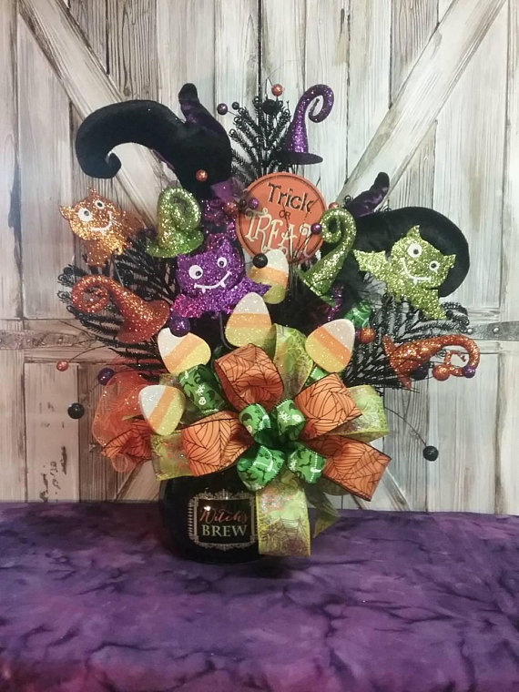 Halloween Centerpiece, Halloween Arrangement, Witch\u0027s Cauldron - halloween centerpiece