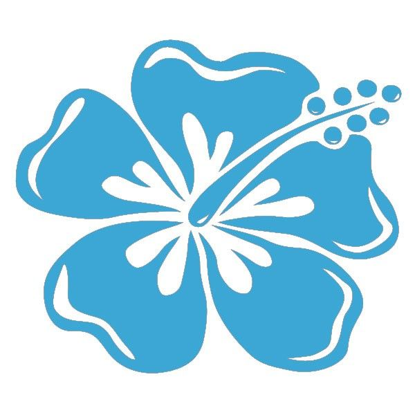Grand sticker hibiscus bleu ciel mod le pinterest - Fleure hawaienne ...