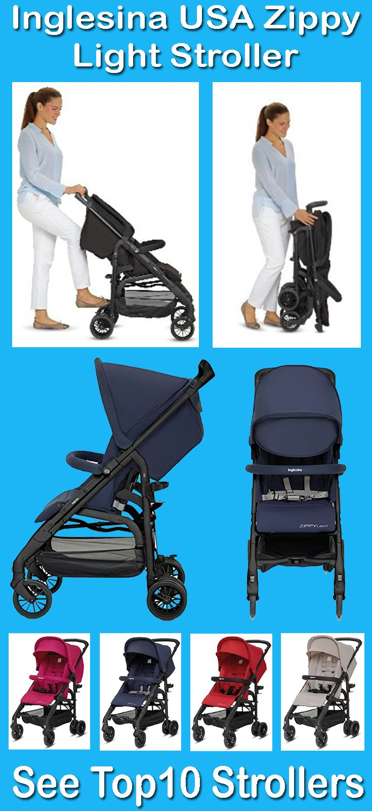 Top Lightweight Travel System Strollers Inglesina Zippy Light Stroller Features 3 Position Fully