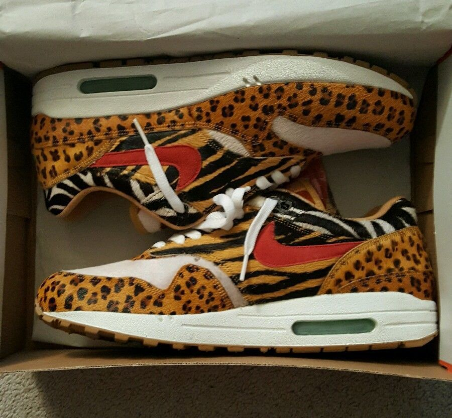 b5b9fb3002c1 Nike Air Max 1 Supreme Atmos Safari Animal Size 10.5 Yeezy Kanye ...