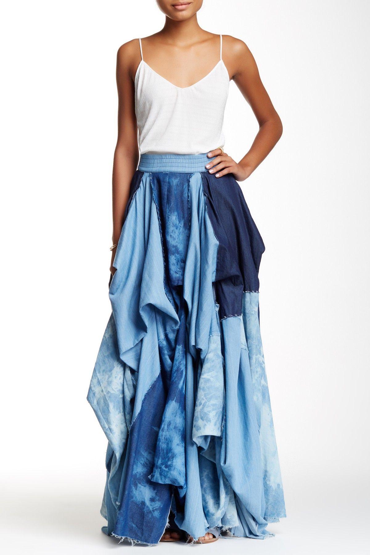 62c4c2eb6 TOV | Draped Denim Maxi Skirt | Rock that style! | Skirts, Denim ...