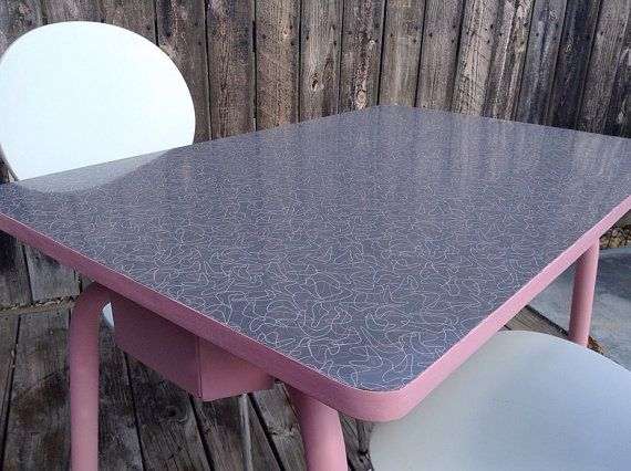 Mid Century Refurbished Grey Pink And White Boomerang Laminate  Kitchen/Dining Or Diner Table Or MCM Desk No Chairs