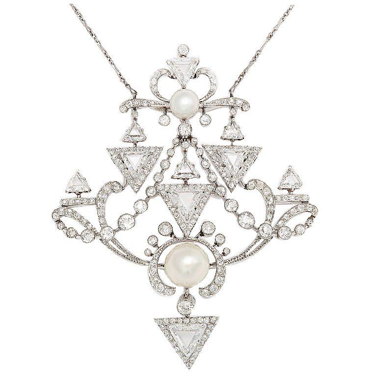 PAUL TEMPLIER French Belle Epoque Diamond Pearl Brooch