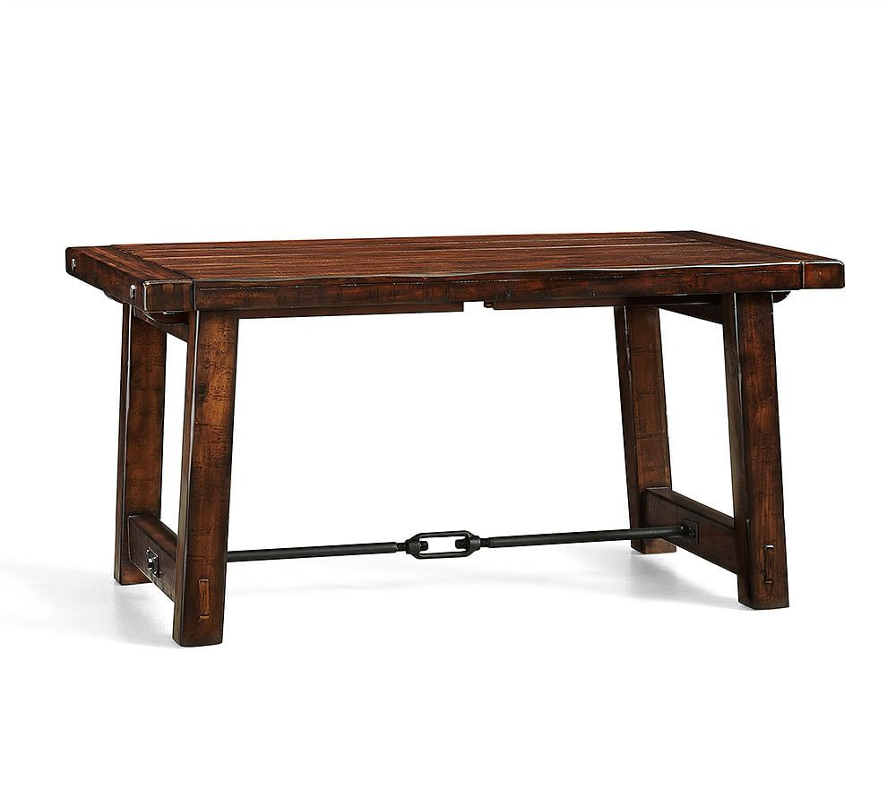 Benchwright Extending Rectangular Dining Table 60 X 38 Rustic Mahogany Stain Dining Furniture Kitchen Tables Pottery Barn Dining Table Dining Room Table Dining