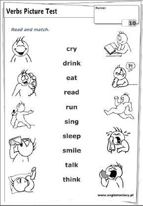 Verbos Ingles Para Preescolar Material Escolar En Ingles Verbos Y Adjetivos