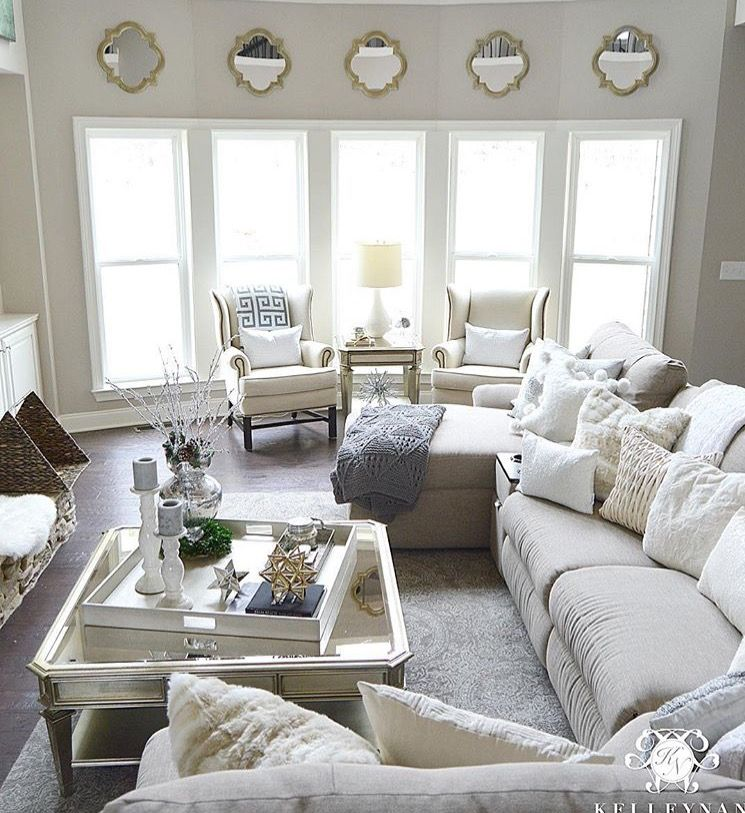 Love the little matching mirrors hung above the windows | For our ...