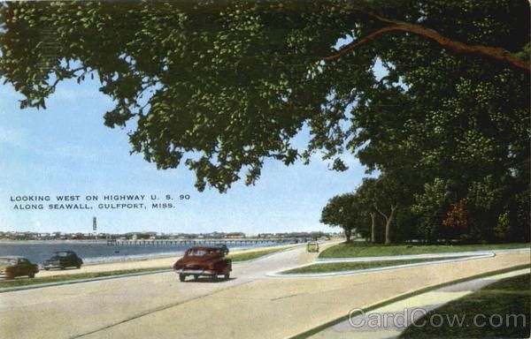 Gulfport MS Looking West On Highway U S Along Seawall - Hwy us 90 mississippi map