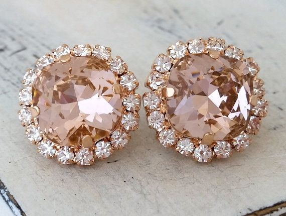 Rose gold Blush Pink crystal stud earrings, Bridal earrings, Bridesmaids gift, Swarovski studs, Crystal stud earrings, Pink stud earrings