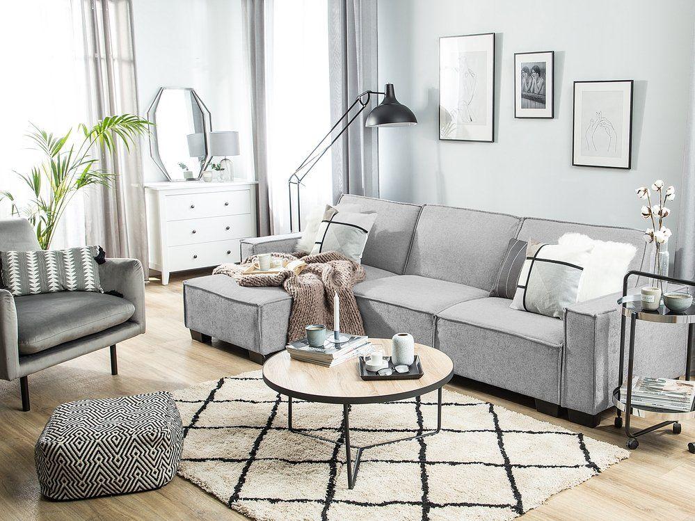 Sofa mit mobiler Ottomane AVESTA dunkelgrau