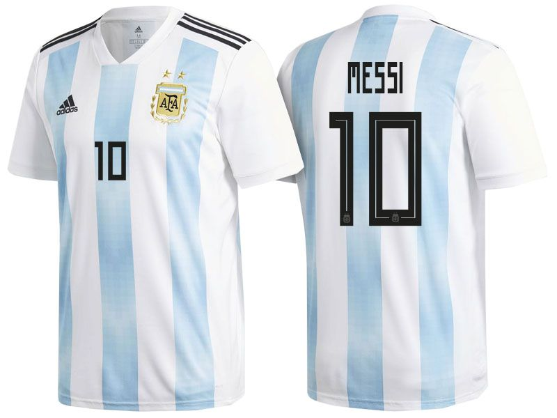 ed4a71eab Men s Argentina Forward  10 Lionel Messi 2018 World Cup Home White   Blue  Player Jersey