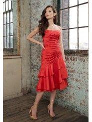 Taffeta Strapless Softly Curved Neckline Ruched Bodice Knee-length Bridesmaid Dress