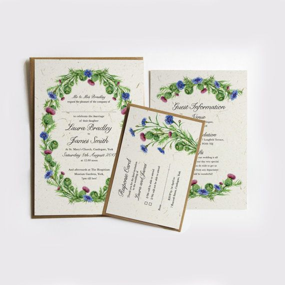 This scottish thistle themed invitation would be perfect for a this scottish thistle themed invitation would be perfect for a rustic wedding or event the card ink envelope embellishment colours can be changed at no stopboris Gallery