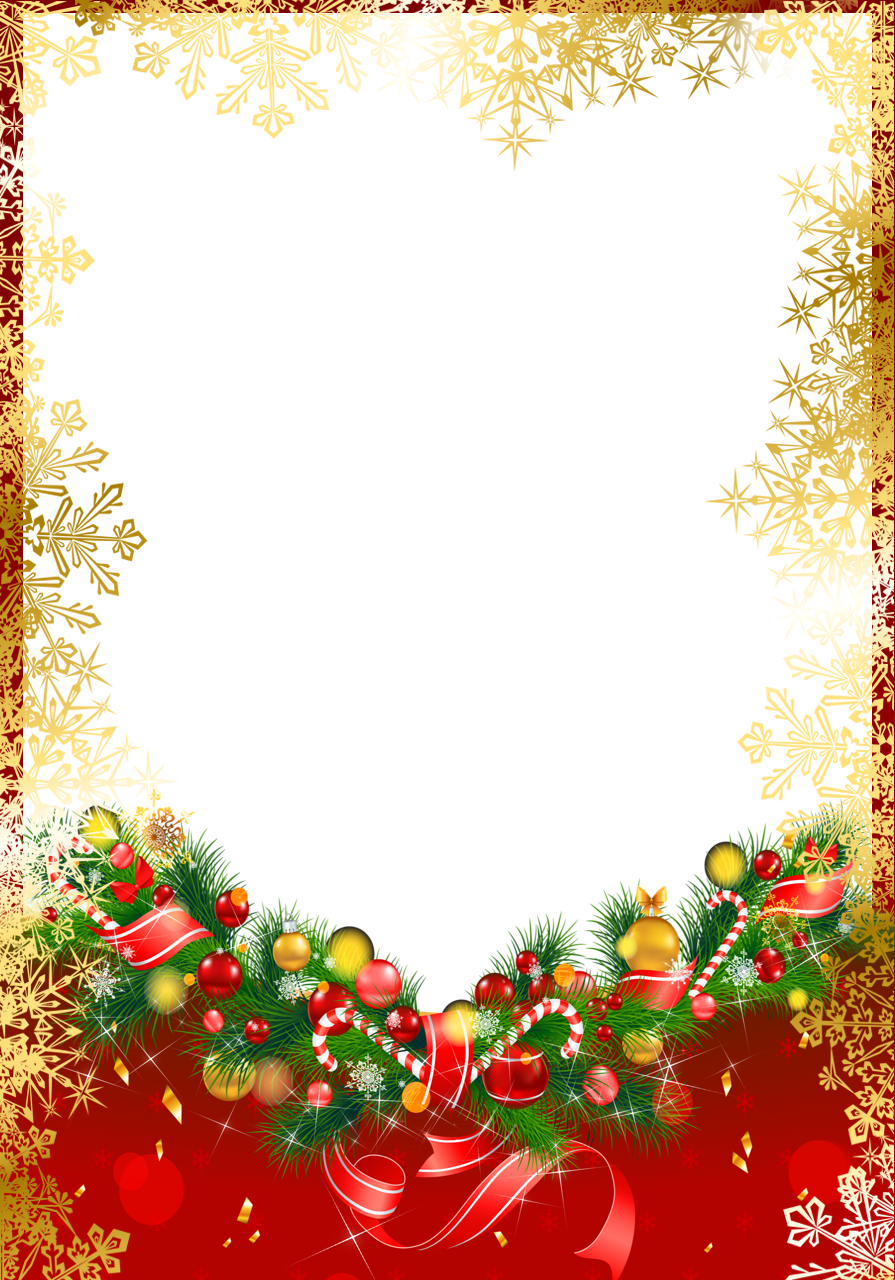 Red Christmas PNG Frame with Gold Snowflakes | Ekeresimesi ...
