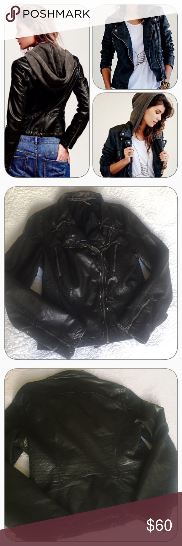 Free People Vegan Leather Motorcycle Jacket w Hood Free People Vegan Leather Mot… – My Posh Picks