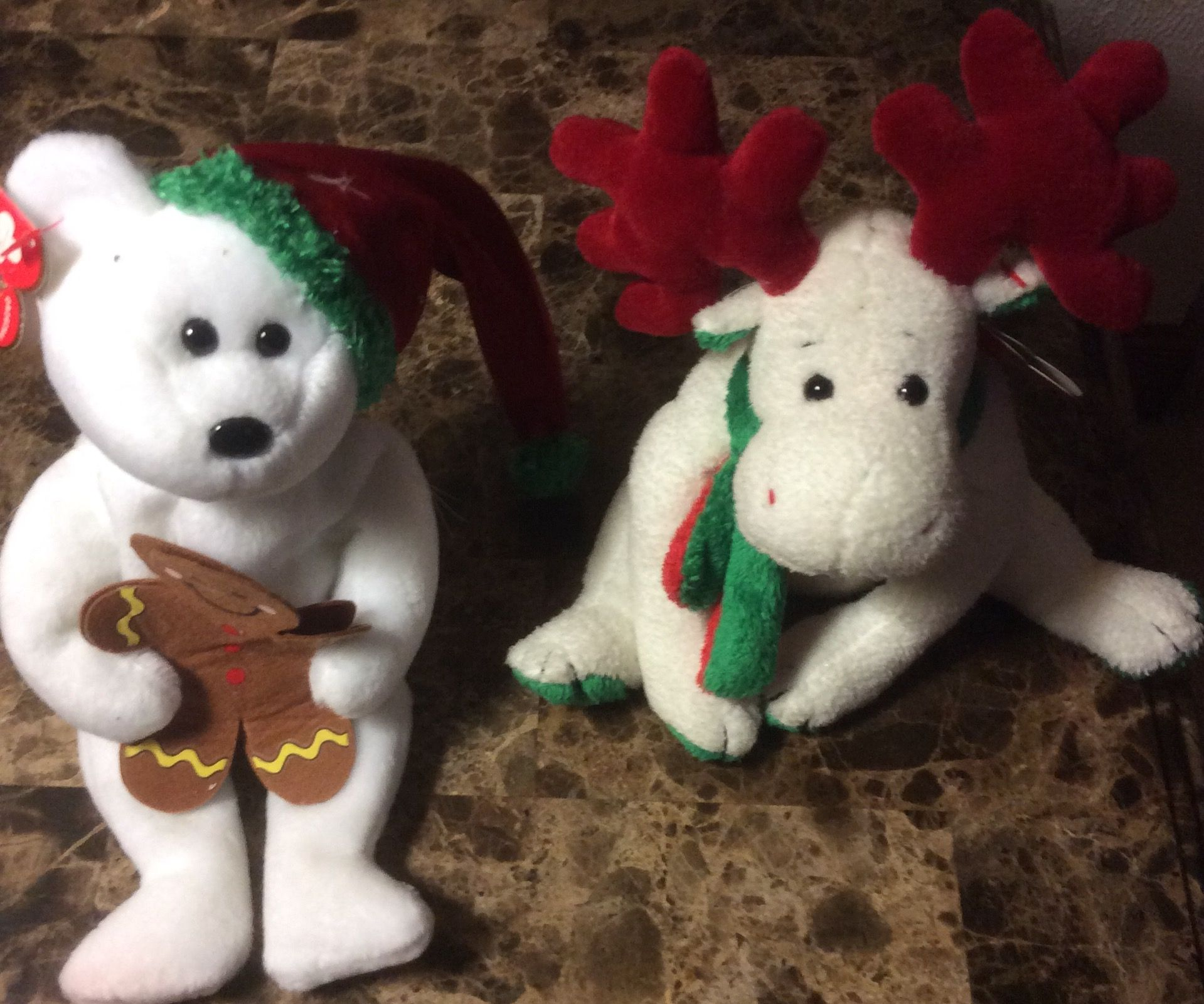 fd99893af66 2 Christmas TY Beanie Babies Mooseltoe   Goody  10.00 plus shipping ...