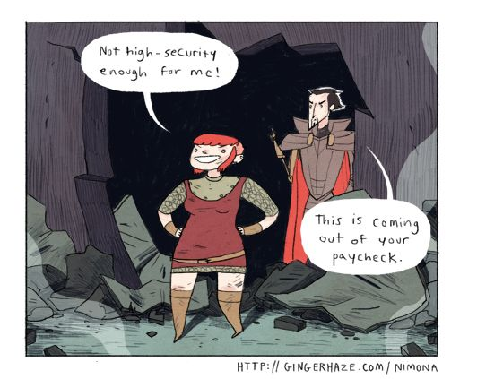 Nimona - http://gingerhaze.com/nimona featuring antihero determined to prove that the 'heroes' are up to something, and his shapeshifting assistant.  Terribly funny and Nimona and Ballister's friendship is also really sweet.