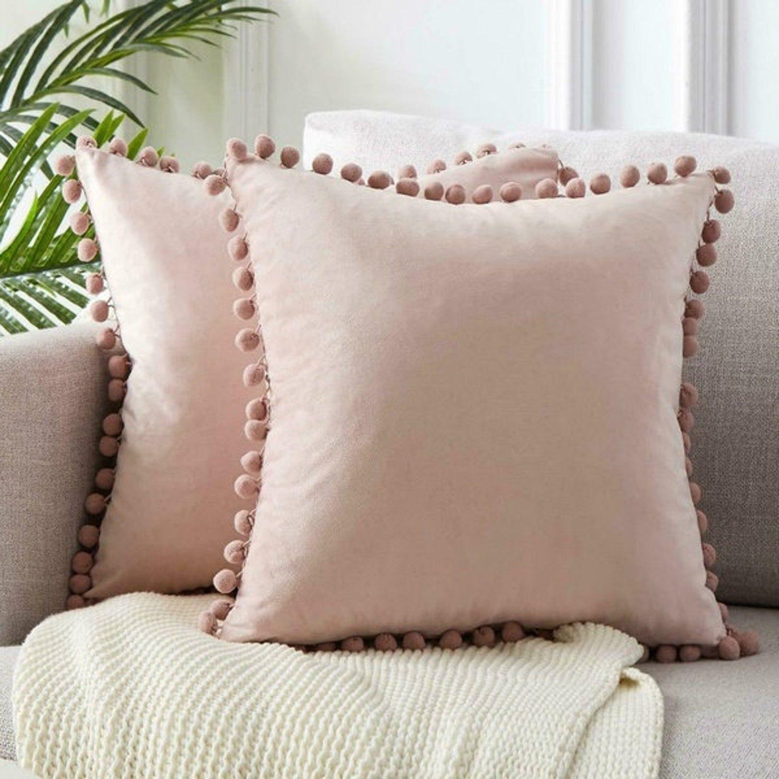 Pom Pom Cushion Velvet Blush Pink Boho Beautiful Handmade With Etsy In 2020 Velvet Pillows Pink Velvet Pillow Velvet Throw Pillows