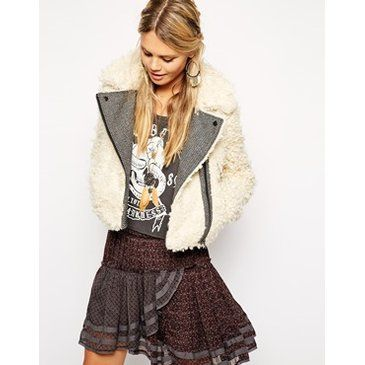 Free People Shaggy Faux Fur Cropped Jacket at asos.com
