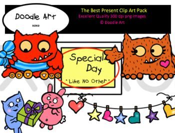 """This """"The Best Present"""" Clipart collection includes all the images shown in the sample picture and more. This clipart pack is a parody of the book Love Monster and the Best Present. This group includes 16 different clips:* Black line masters of all clips* Love* Love Monster* Monster* Present* Banner* So CuteGraphics come in PNG format 300 dpi format.My graphics are suitable for printing and digital projects and can be easily re-sized smaller to suit other needs, graphics measure different…"""
