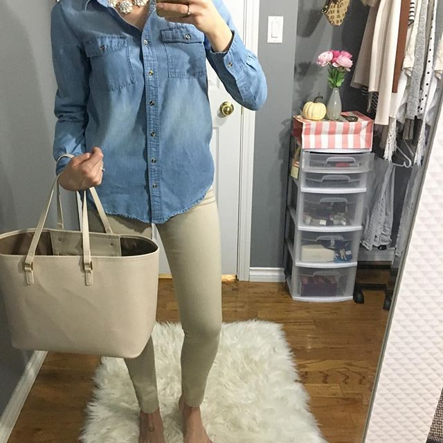 💕 Today's OOTD! 😁 #ootd #ardenelove #aldo #chapters #love #outfit #blog #blogger #fashionblogger #styleblogger #lifestyleblogger #hellostylesblog #picoftheday #style #fall #autumn #denim #jeanshirt #tanpants #like4like #follow4follow