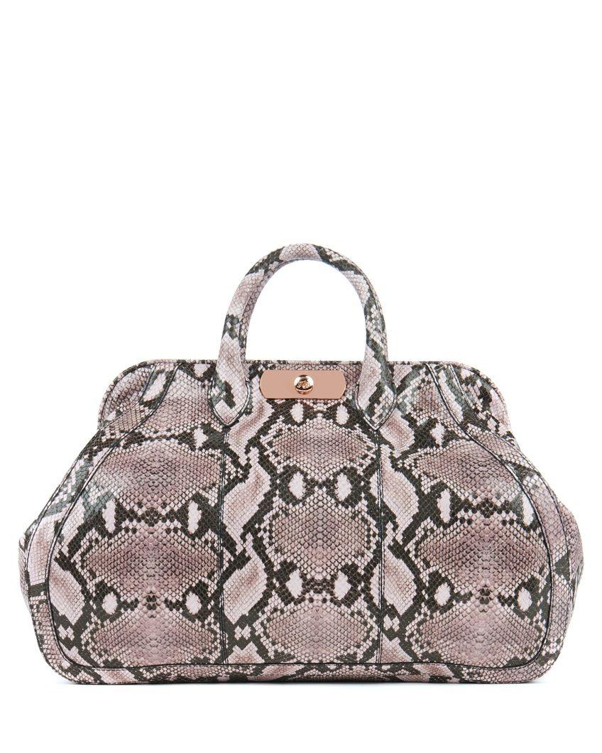 DARLAR - Large leather snake effect bag