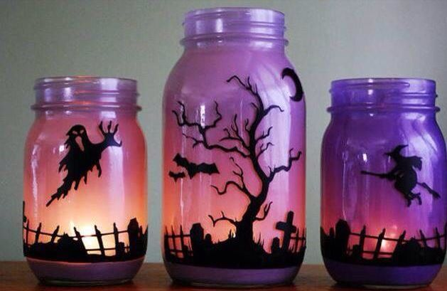 Painted mason jars, decorated with vinyl  lighted with led candle - halloween milk jug decorations