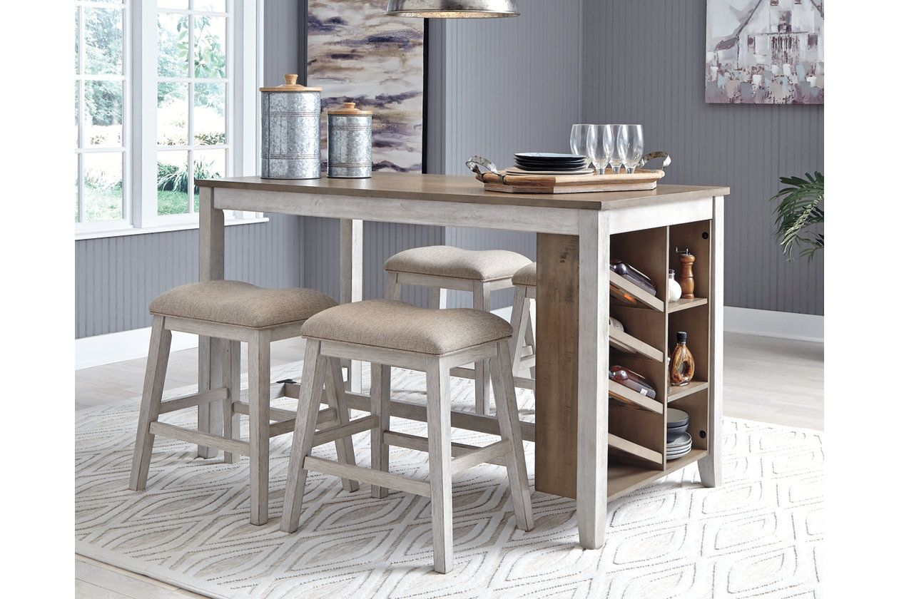 Skempton Counter Height Dining Table And 4 Barstools Ashley Furniture Homestore Counter Height Table Counter Height Dining Table Counter Table