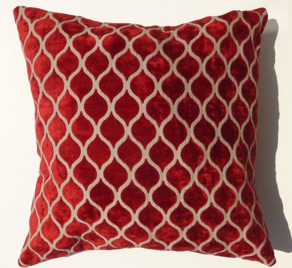 Red velvet Pillow Case Decorative Cushion cover Modern Home Decor 40x40 Living Room Decor Geometric Euro Sham 16x16' Accent Sofa Pillow