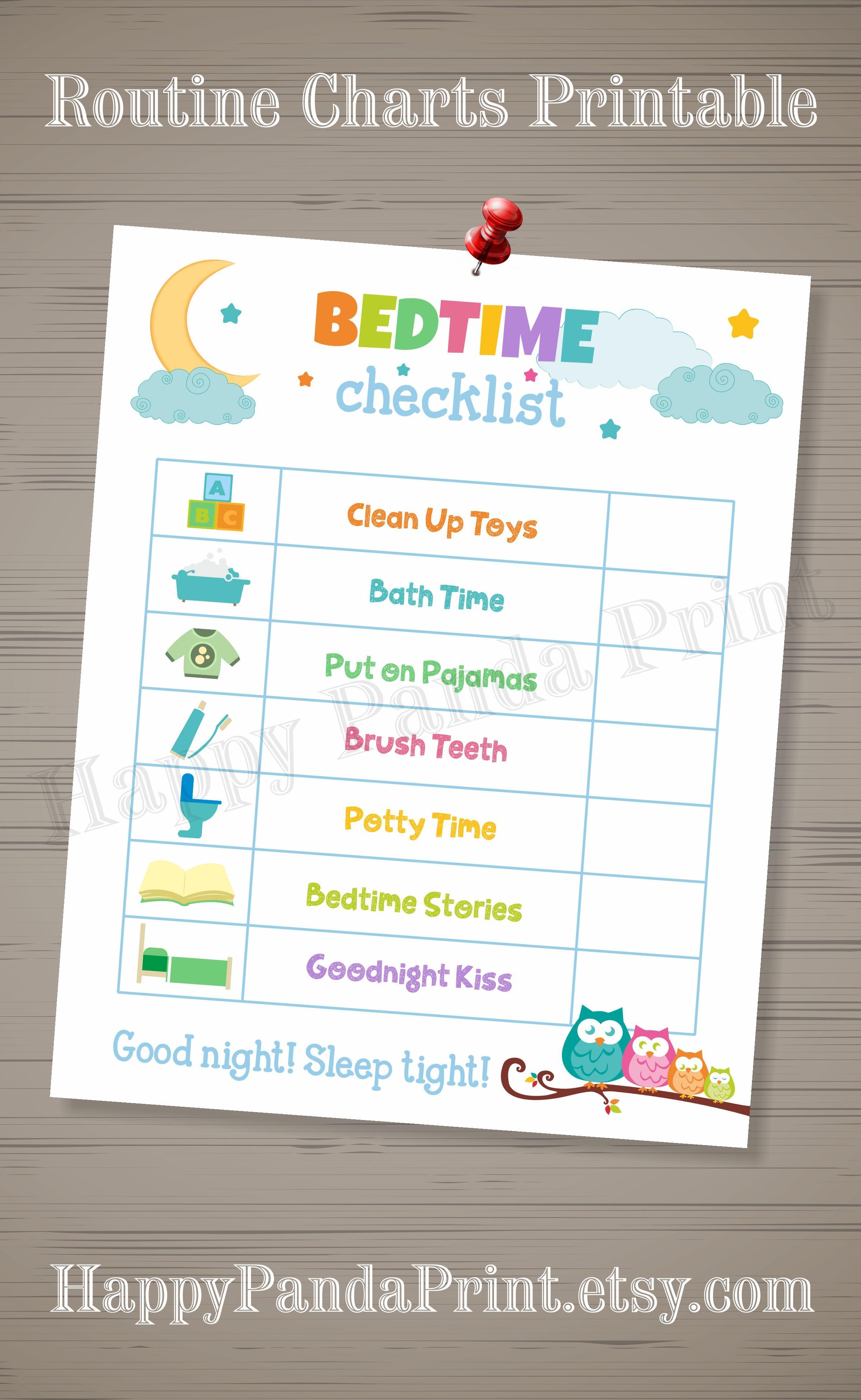 Daily Bedtime Checklist Printable Bedtime Routine Checklist Bedtime Charts Kids Charts To Do