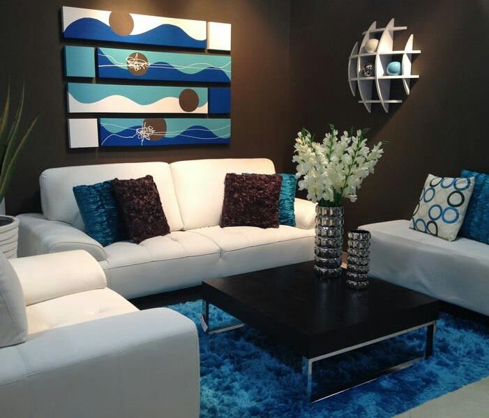 Love blue n brown decora home stores in puerto rico for Blue brown living room decor