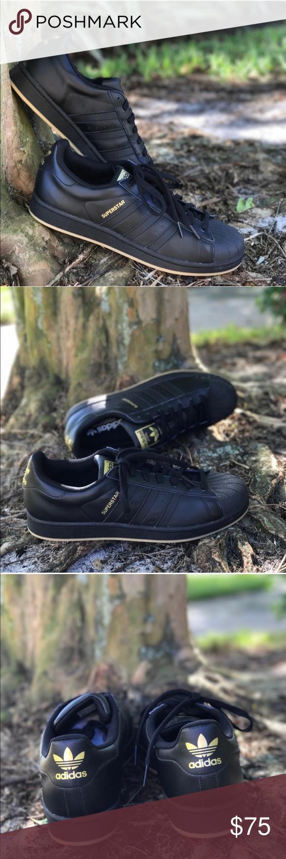 Nwt Adidas Superstar Nero / Oro Adidas Originali M Stile, Adidas