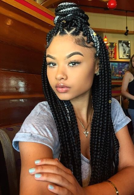Black Box Braids With Color Natural Hair Styles Braids For Black Hair Box Braids Hairstyles